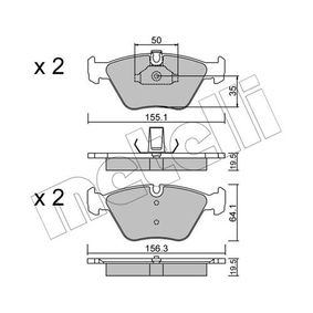 Bremsbelagsatz, Scheibenbremse Breite 2: 156,3mm, Höhe 2: 64,1mm, Dicke/Stärke 1: 19,5mm, Dicke/Stärke 2: 19,5mm mit OEM-Nummer 3411 6761 280