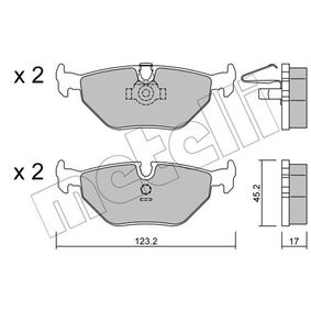 METELLI  22-0210-0 Bremsbelagsatz, Scheibenbremse Dicke/Stärke 1: 17,0mm