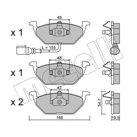 Kit pastiglie freno, Freno a disco 22-0211-2 GOLF 6 (5K1) 1.2 TSI ac 2012