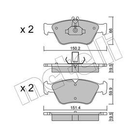 Bremsbelagsatz, Scheibenbremse Breite 2: 150,2mm, Höhe 2: 66,0mm, Dicke/Stärke 2: 19,5mm mit OEM-Nummer A00 242 04420