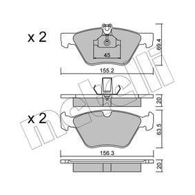 Bremsbelagsatz, Scheibenbremse Breite 2: 156,3mm, Höhe 2: 63,5mm, Dicke/Stärke 2: 20,0mm mit OEM-Nummer 0044200320