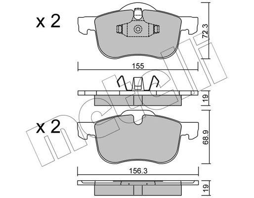 METELLI  22-0309-0 Brake Pad Set, disc brake Width 2 [mm]: 156,3mm, Height 2: 68,9mm, Thickness 1: 19,0mm, Thickness 2: 19,0mm
