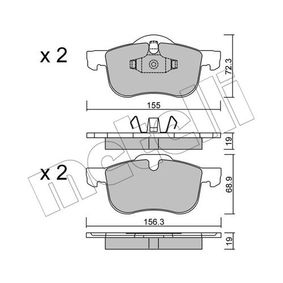 Brake Pad Set, disc brake Width 2 [mm]: 156,3mm, Height 2: 68,9mm, Thickness 1: 19,0mm, Thickness 2: 19,0mm with OEM Number 3 126 250 6