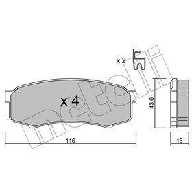 METELLI  22-0432-0 Bremsbelagsatz, Scheibenbremse Dicke/Stärke 1: 16,0mm