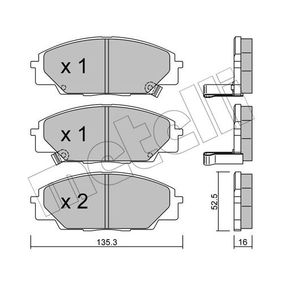 Brake Pad Set, disc brake Thickness 1: 16,5mm with OEM Number 45022S2AE50