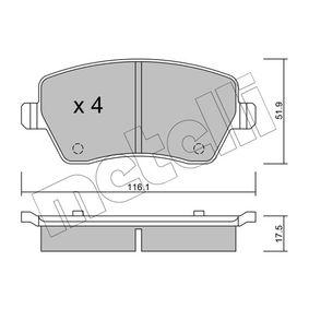 Brake Pad Set, disc brake 22-0485-0 Note (E11, NE11) 1.4 MY 2009