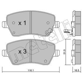 Bremsbelagsatz, Scheibenbremse Dicke/Stärke 1: 16,5mm mit OEM-Nummer 93 192 962
