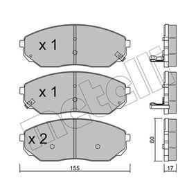 2009 KIA Sorento jc 2.5 CRDi Brake Pad Set, disc brake 22-0515-0
