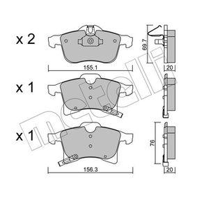 Bremsbelagsatz, Scheibenbremse Breite 2: 156,3mm, Höhe 2: 76,0mm, Dicke/Stärke 2: 20,0mm mit OEM-Nummer 16 05 996