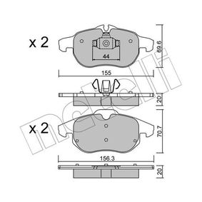 Bremsbelagsatz, Scheibenbremse Breite 2: 156,3mm, Höhe 2: 70,7mm, Dicke/Stärke 2: 20,0mm mit OEM-Nummer 93 185 751