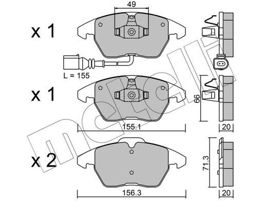 METELLI  22-0548-0 Bremsbelagsatz, Scheibenbremse Breite 2: 156,3mm, Höhe 2: 71,3mm, Dicke/Stärke 1: 20,0mm