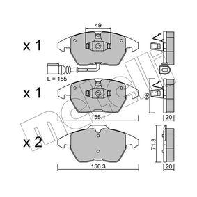 Kit de plaquettes de frein, frein à disque Largeur 2: 156,3mm, Hauteur 2: 71,3mm, Epaisseur 2: 20,0mm avec OEM numéro 3C0698151D