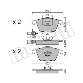 METELLI  22-0549-1 Bremsbelagsatz, Scheibenbremse Breite 2: 156,3mm, Höhe 2: 72,9mm, Dicke/Stärke 1: 20,0mm