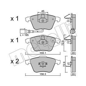Bremsbelagsatz, Scheibenbremse Breite 2: 156,3mm, Höhe 2: 72,9mm, Dicke/Stärke 2: 20,0mm mit OEM-Nummer 1K0-698-151-B