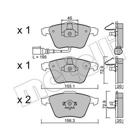 Bremsbelagsatz, Scheibenbremse Breite 2: 156,3mm, Höhe 2: 72,9mm, Dicke/Stärke 2: 20,0mm mit OEM-Nummer 1K0.698.151B