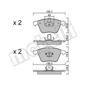 Комплект спирачно феродо, дискови спирачки ширина 2: 156,3мм, височина 2: 72,9мм, дебелина 1: 18,5мм, дебелина 2: 18,5мм с ОЕМ-номер 23912