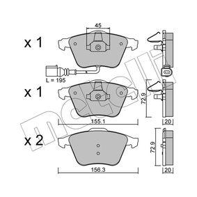 Bremsbelagsatz, Scheibenbremse Breite 2: 156,3mm, Höhe 2: 72,9mm, Dicke/Stärke 2: 20,0mm mit OEM-Nummer 8J0.698.151A