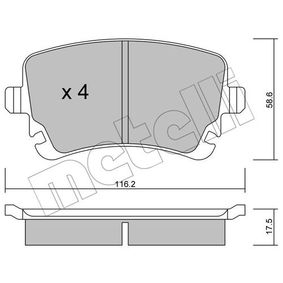 Bremsbelagsatz, Scheibenbremse Dicke/Stärke 1: 17,5mm mit OEM-Nummer 4B3698451A