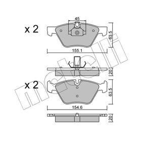 Bremsbelagsatz, Scheibenbremse Breite 2: 155,1mm, Höhe 2: 63,5mm, Dicke/Stärke 2: 20,0mm mit OEM-Nummer 3411 6799 166