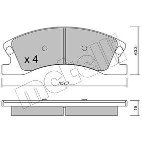 Bremsbelagsatz, Scheibenbremse Dicke/Stärke 1: 19,0mm mit OEM-Nummer 5093 260AA