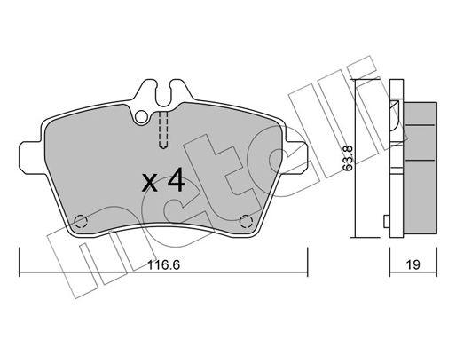 METELLI  22-0646-0 Bremsbelagsatz, Scheibenbremse Dicke/Stärke 1: 19,0mm