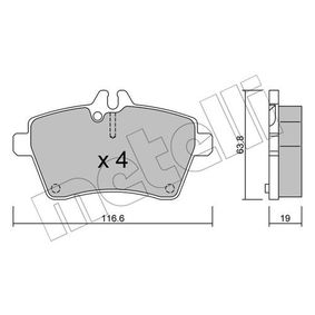 Brake Pad Set, disc brake Thickness 1: 19,0mm with OEM Number 169 420 13 20