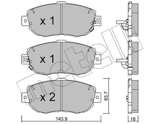 METELLI  22-0756-0 Bremsbelagsatz, Scheibenbremse Dicke/Stärke 1: 17,5mm