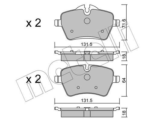 METELLI  22-0768-0 Bremsbelagsatz, Scheibenbremse Breite 2: 131,5mm, Höhe 2: 64,0mm, Dicke/Stärke 1: 18,0mm
