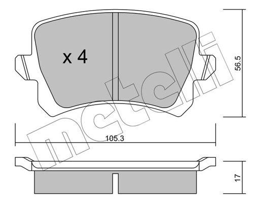 METELLI  22-0806-0 Bremsbelagsatz, Scheibenbremse Dicke/Stärke 1: 17,0mm