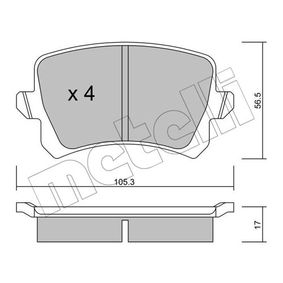 Bremsbelagsatz, Scheibenbremse Dicke/Stärke 1: 17,0mm mit OEM-Nummer 3C0698451F