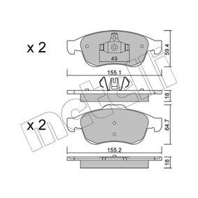 Bremsbelagsatz, Scheibenbremse Breite 2: 155,2mm, Höhe 2: 64,7mm, Dicke/Stärke 1: 18,0mm, Dicke/Stärke 2: 18mm mit OEM-Nummer 4106 059 61R