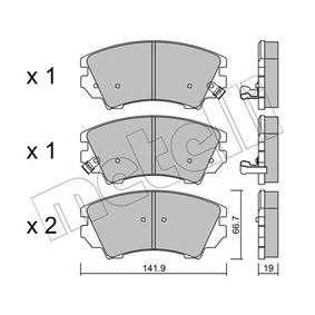 Brake Pad Set, disc brake Thickness 1: 19,0mm with OEM Number 16 05 186