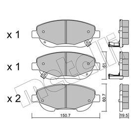 Bremsbelagsatz, Scheibenbremse Dicke/Stärke: 19,5mm mit OEM-Nummer 249.46