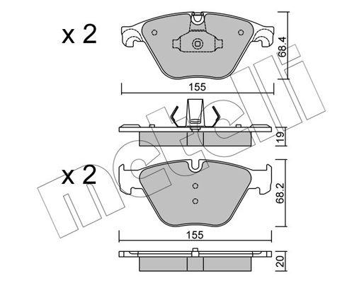 METELLI  22-0918-0 Bremsbelagsatz, Scheibenbremse Dicke/Stärke 1: 19,0mm, Dicke/Stärke 2: 20,0mm