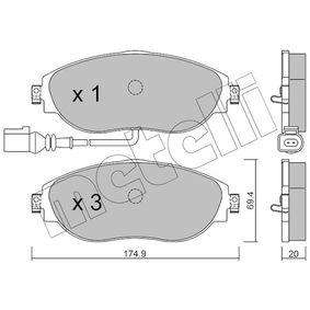 Brake Pad Set, disc brake Thickness 1: 20,0mm with OEM Number 3C0698151G