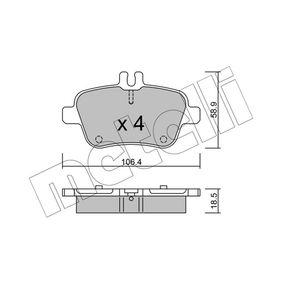 2015 Mercedes W176 A 200 1.6 (176.043) Brake Pad Set, disc brake 22-0966-0