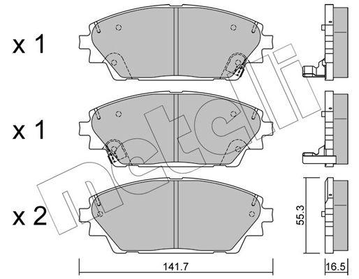 METELLI  22-0992-0 Brake Pad Set, disc brake Thickness 1: 16,5mm