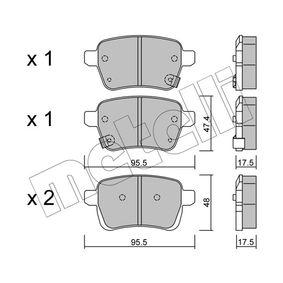 METELLI  22-1012-0 Bremsbelagsatz, Scheibenbremse Höhe 2: 48mm, Dicke/Stärke 1: 17,5mm