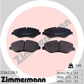 Bremsbelagsatz, Scheibenbremse Breite: 184mm, Höhe: 75mm, Dicke/Stärke: 21mm mit OEM-Nummer A447 421 08 00