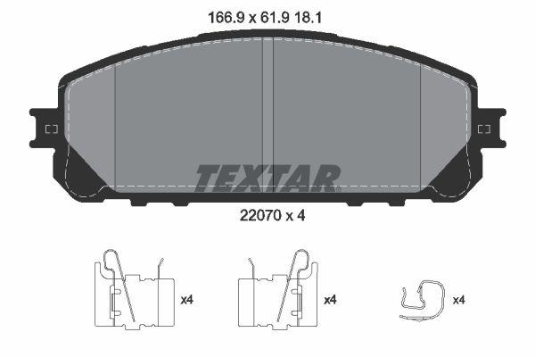 TEXTAR  2207001 Bremsbelagsatz, Scheibenbremse Breite: 166,9mm, Höhe: 61,9mm, Dicke/Stärke: 18,1mm
