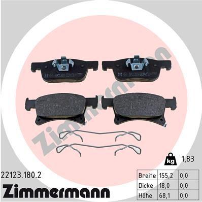 ZIMMERMANN  22123.180.2 Bremsbelagsatz, Scheibenbremse Breite: 155mm, Höhe 1: 68,1mm, Höhe 2: 61,9mm, Dicke/Stärke: 18mm