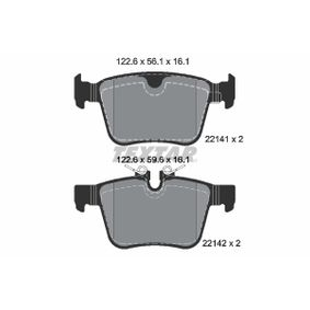 Brake Pad Set, disc brake Width: 122,6mm, Height 1: 56,1mm, Height 2: 59,6mm, Thickness: 16,1mm with OEM Number LR123595