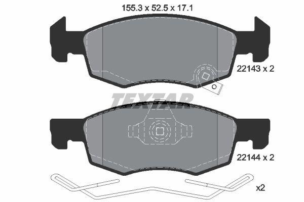 TEXTAR  2214301 Bremsbelagsatz, Scheibenbremse Breite: 155,3mm, Höhe: 52,5mm, Dicke/Stärke: 17,1mm