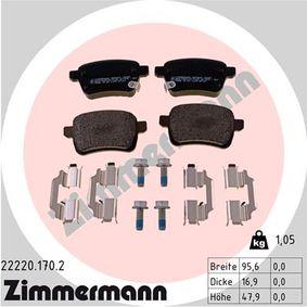 Bremsbelagsatz, Scheibenbremse Breite: 95,9mm, Höhe: 47,6mm, Dicke/Stärke: 16,8mm mit OEM-Nummer 77366595