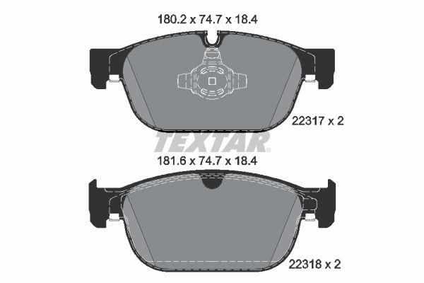 TEXTAR  2231701 Bremsbelagsatz, Scheibenbremse Breite: 180,2mm, Höhe: 74,7mm, Dicke/Stärke: 18,4mm