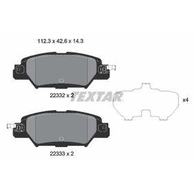 TEXTAR  2233201 Bremsbelagsatz, Scheibenbremse Breite: 112,3mm, Höhe: 42,5mm, Dicke/Stärke: 14,3mm