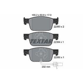 Bremsbelagsatz, Scheibenbremse Breite: 155,2mm, Höhe: 63,8mm, Dicke/Stärke: 17,0mm mit OEM-Nummer 8W0 698 151 AG