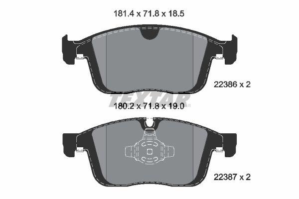 TEXTAR  2238601 Bremsbelagsatz, Scheibenbremse Breite 1: 181,4mm, Breite 2: 180,2mm, Höhe 1: 71,8mm, Dicke/Stärke 1: 18,5mm, Dicke/Stärke 2: 19,0mm