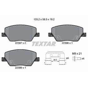 Bremsbelagsatz, Scheibenbremse Breite: 133,2mm, Höhe: 58,5mm, Dicke/Stärke: 19,2mm mit OEM-Nummer 77367628