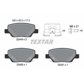 TEXTAR  2244901 Bremsbelagsatz, Scheibenbremse Breite: 100mm, Höhe: 42,2mm, Dicke/Stärke: 17,2mm